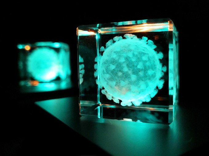 These Laser Engraved Microorganisms In Glass Boxes Are Spectacular